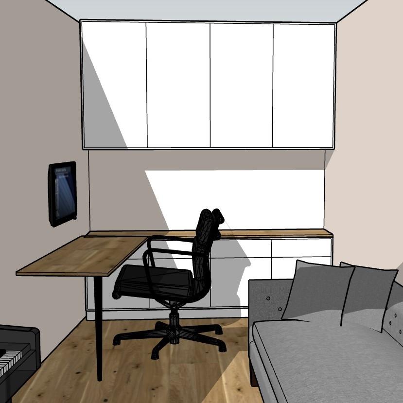 Home-Office in Frankfurt, 1. Entwurf