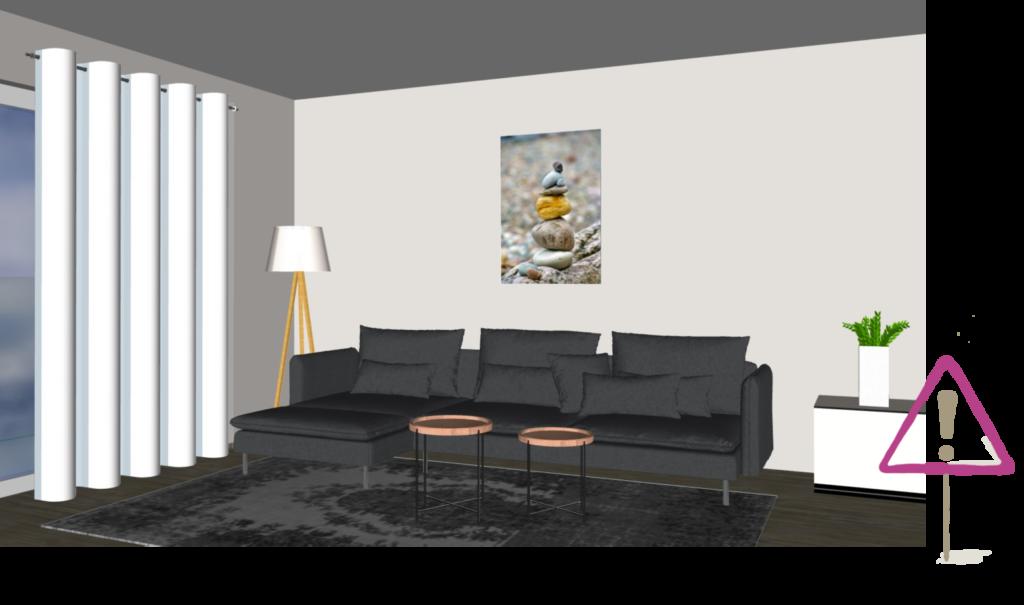 Bild im Hochformat über dem Sofa