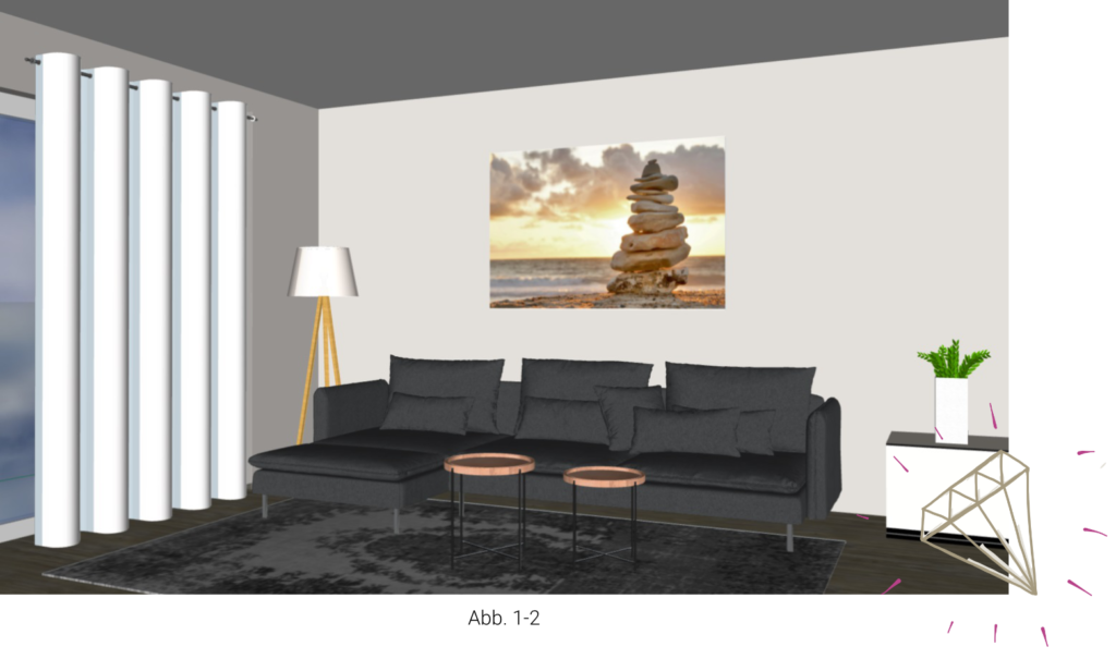 Bild im Querformat über dem Sofa