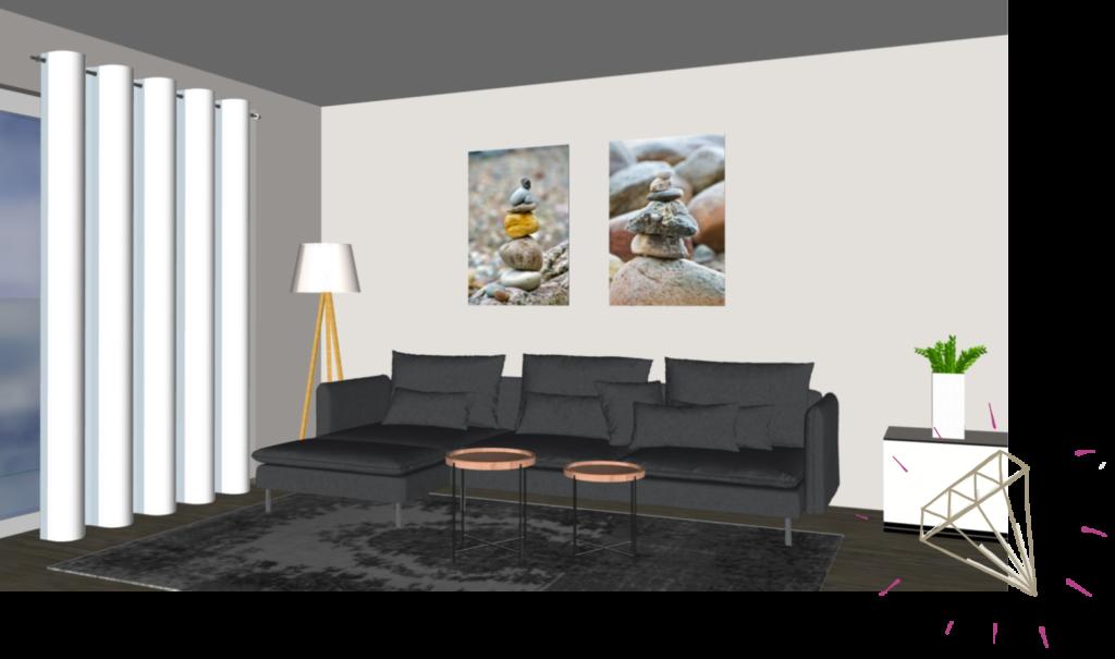 2 Bilder im Hochformat über dem Sofa