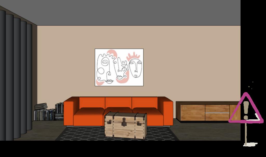 Farblich nicht passendes Bild über dem Sofa im Wohnzimmer