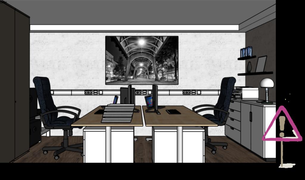 Bild mit Tiefenwirkung über dem Schreibtisch im Büro