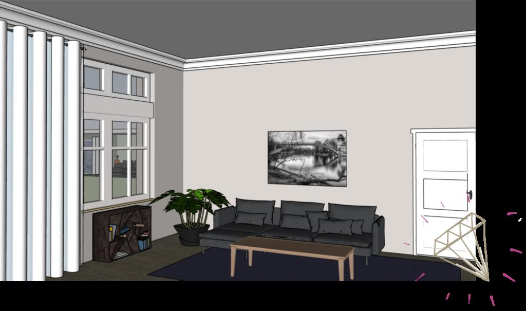 Bild mit Brücke über Sofa im Raum mit hoher Decke