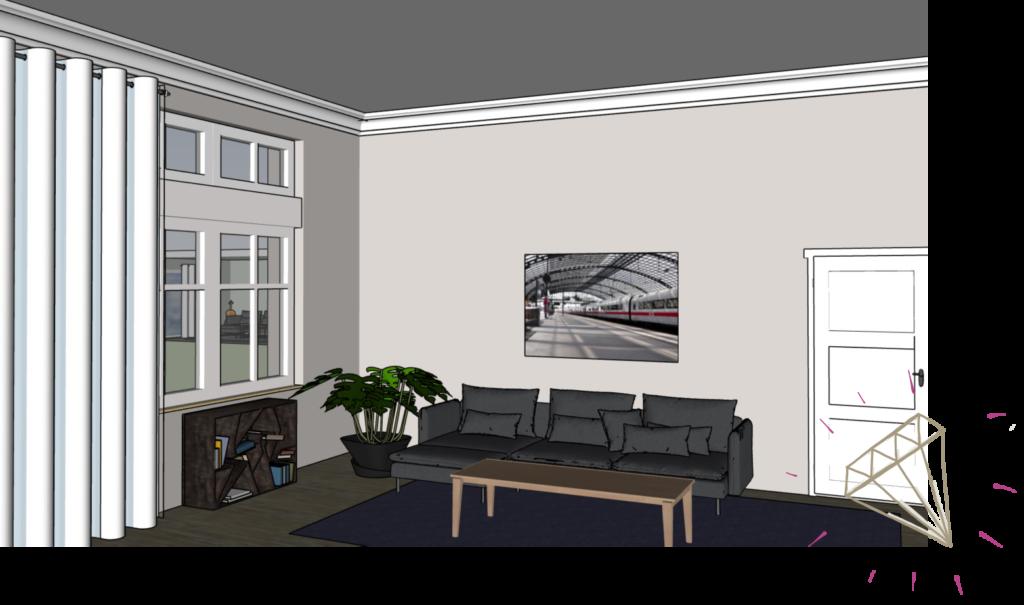 Bild mit Bahnhof über Sofa im Raum mit hoher Decke