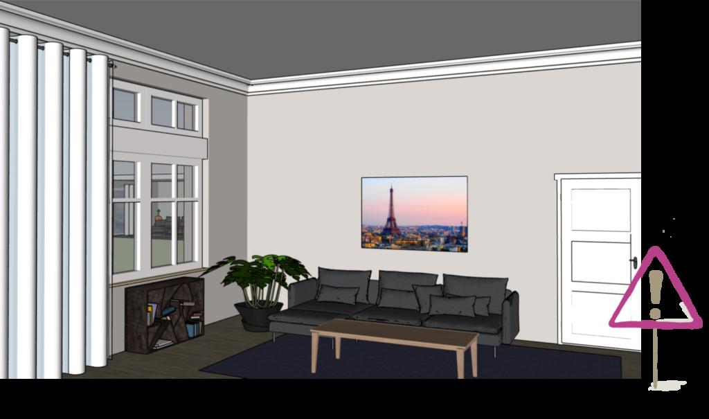 Bild ohne Begrenzung nach oben im Raum mit hoher Decke