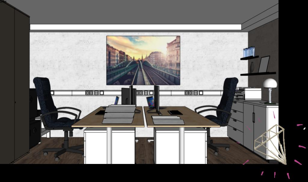 Bild mit Tiefenwirkung über Schreibtisch im Raum mit niedriger Decke