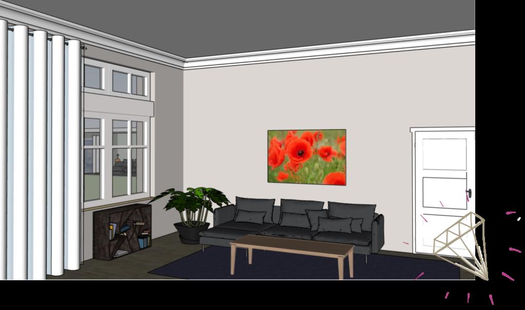 Bild mit warmen Farben in grossem Raum