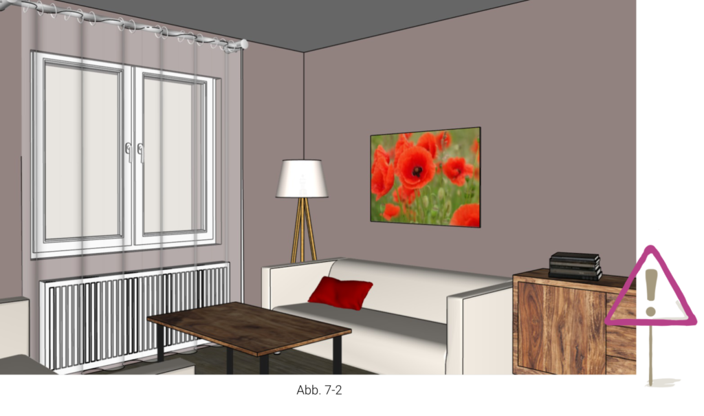 Bild mit warmen Farben in kleinem Raum